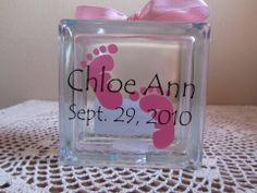 Baby feet glass block night light or bank gift idea