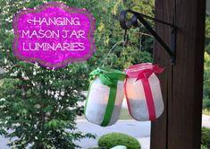 Hanging Mason Jar Luminary jar craft, hang mason, mason jars, jar luminari
