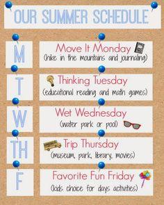 Weekly Summer Schedule Printable | www.inspirationformoms.com #summerschedule #summer