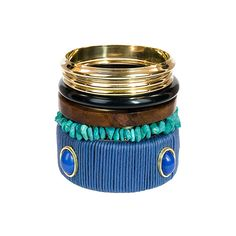 Blue Textured Bangles Set of 7.