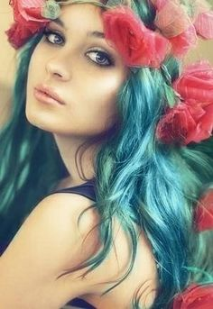 Holiday Hair | Mint waves & Red Flower Crown