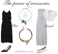 how to wear a statement necklace with black or gray   40plusstyle.com