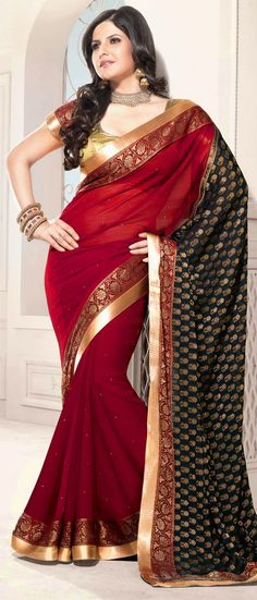 #Red and Black Faux #Chiffon #Saree With Blouse @ $71.02
