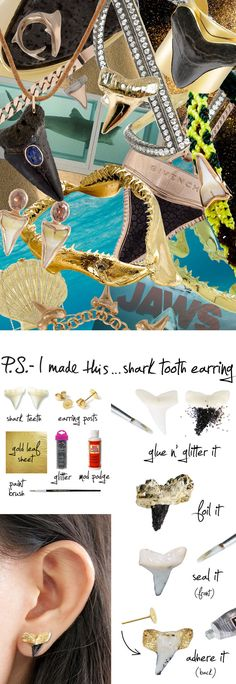 P.S.-I made this...Shark Tooth Earring #PSIMADETHIS #DIY #INSPIRATION #COLLAGE