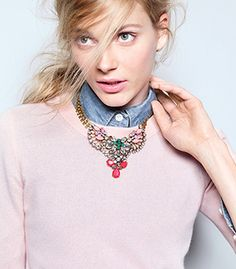 J. Crew pink and denim