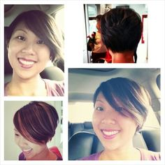 Long pixie, stacked bob, asymmetrical cut. Dark chocolate brown with chunky caramel highlights.