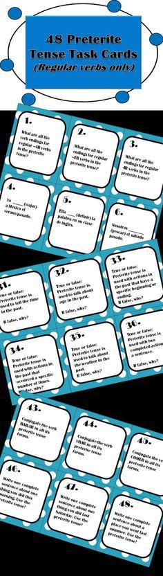48 Spanish Preterite Tense Task Cards! Regular verbs only. Engaging and educational! (preterit, preterito)