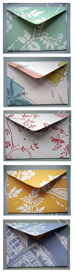How to make envelopes from scrapbook paper, wallpaper samples, and other pretty paper. #diyenvelopes