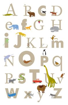 on Etsy: Alphabet Poster print size 13 x 19 inch  Nursery wall decor