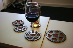 Bicycle Gear Cog Coasters, Set of 4 hand carved cork coasters. $22.00, via Etsy.