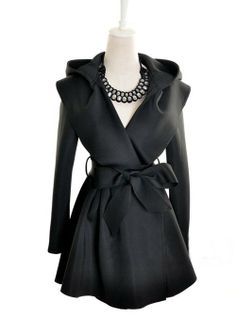 Chic Hooded Belted No-buttons Black Trench Coats  Trench Coats from stylishplus.com.  Love this!!!!!!