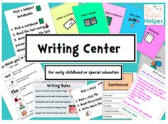 10 Writing Centers for Early Childhood or Special Education from The Autism Helper on TeachersNotebook.com -  (53 pages)  - These centers work on a huge variety of writing skills. All centers have visual cues, simple text, and are very easy to understand and comprehend. These centers target descriptive writing, narrative writing, sentence building, sequencing, making inference