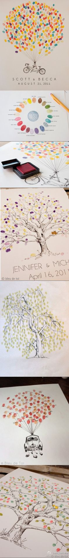 Baby shower idea ~ have everyone at the shower put a thumb prints on a picture in the nursery colors.