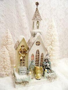 christma villag, putz hous, vintage christmas, glitter houses, church, christma hous, christmas villages, codi foster, christmas houses