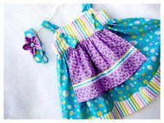 Girls Knot Dress Easter Dress Sun Dress Size 4 by BonJeanCreations, $36.49
