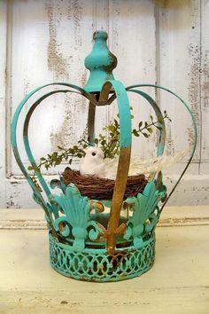 Large metal crown aqua distressed rusty home by AnitaSperoDesign, $75.00