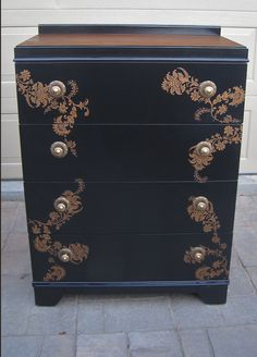 Oil painted black dresser with bronze silk screen design.  betterafter.net