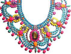 PureEssentia neon handpainted vintage rhinestone necklaces