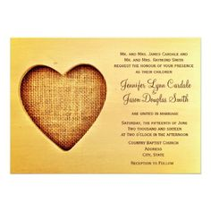 Rustic Country Wood Burlap Heart Wedding Invite