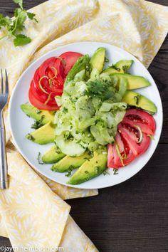 Avocado and cucumber salad with cilantro-ginger dressing via @TreeHugger //  #Vegan #Avocado #Salad #Recipe