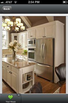 Narrow Countertop Microwave : Narrow island idea with cookbook storage idea