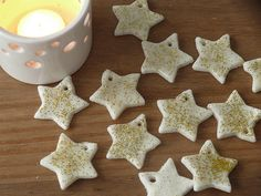 glitter ornaments, christma loveli, homemade ornaments, cornstarch clay, clay ornaments, baking, christma craft, christmas ornaments, christmas stars