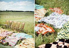 blanket ceremony in the middle of a field