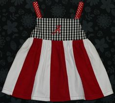 Alabama Crimson Tide Toddler Knot Dress with striped by codamonkey, $30.00