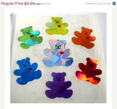 ON SALE Vintage Sandylion Rainbow Heart Bears Prism Stickers 80's Prismatic