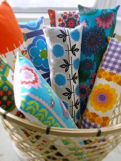 vintage fabric lumbar cushions by modflowers - on sale at the Pretty Dandy Flea decor cushion