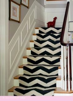 Chevron stair runner - instead of a runner, paint the stairs - no fabric to trip on and easier to sweep clean.