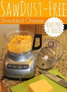 Sawdust-Free Shredded Cheese | #foodstorage