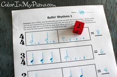Music worksheet activity: Students are instructed to roll the die, write down what they roll, and build measures. If the note they roll is too big to fit in the measure they are working on, they must re-roll until the right one is rolled. When each line is complete, students can clap and count the rhythm to see how it sounds.