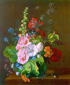 hollyhock, dutch master, vans, art, dutch golden, jan van, flowers, golden age, van huysum