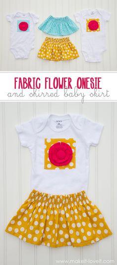 Fabric-Flower-Tshirt and-Shirred Skirt