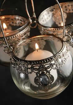 Silver and Glass Three Hanging Candles Holders (set of three assorted) $4.99 set/ 3 sets for $4 set