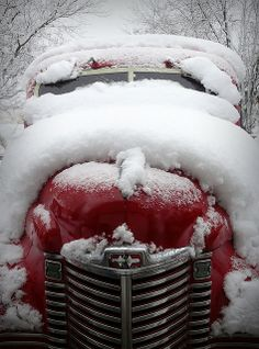 Red, red in a blanket of white! winter snow, classic car, vintage cars, season, red truck, old fashioned christmas, winter wonderland, white christmas, winterwonderland