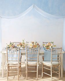 This pretty pairing was inspired by the sky at daybreak, when soft shades of blue and nude blend together like watercolors. It's peaceful and uplifting, and, above all, it represents a fresh start. Here's how to incorporate it into your day.
