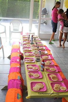 Pancakes and PJs.  Cute birthday party idea.