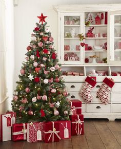 white christmas trees, traditional christmas, china cabinets, cozy kitchen, christmas decorations
