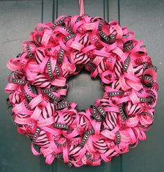 Bright and fun pink ribbon wreath.