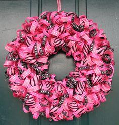 Bright and fun pink ribbon wreath.