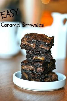 EASY Caramel Brownies !!  Box mix, mixed to package directions.  Dove caramel chocolates  Pour half the batter into 9 x 9 pan.  Place Doves on batter.  Por the remaining batter  Bake!!!    For the original printable recipe..head on over to Lori    Oh and if you plan on using a family size brownie mix in a 9 x 13 pan, just use two packages of Dove candies.