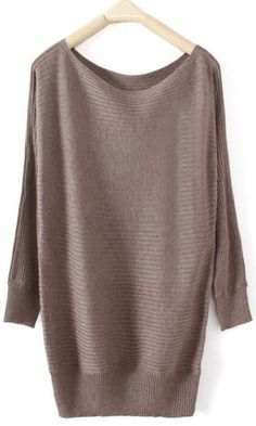 Dark Khaki Boat Neck Long Sleeve Pullovers Sweater