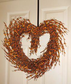 Primitive Rustic Heart Grapevine Wreath