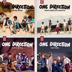 One Direction album covers for Up All Night, What Makes You Beautiful, Gotta Be You and One Thing