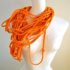 Tangerine Infinity Scarf Womens Bright Orange Cowl Scarf Upcycled Clothing