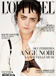 Sky Ferreira on the April cover of L'Officiel Paris wearing a Giorgio #Armani cotton shirt.