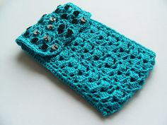 Bright peacock teal handmade crochet and black by TwoLuckyOwls, $18.00
