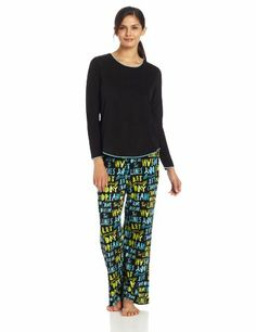 Hue Sleepwear Women's Fleece Pajama Set, Black Script, X-Large Discount - http://mydailypromo.com/hue-sleepwear-womens-fleece-pajama-set-black-script-x-large-discount.html
